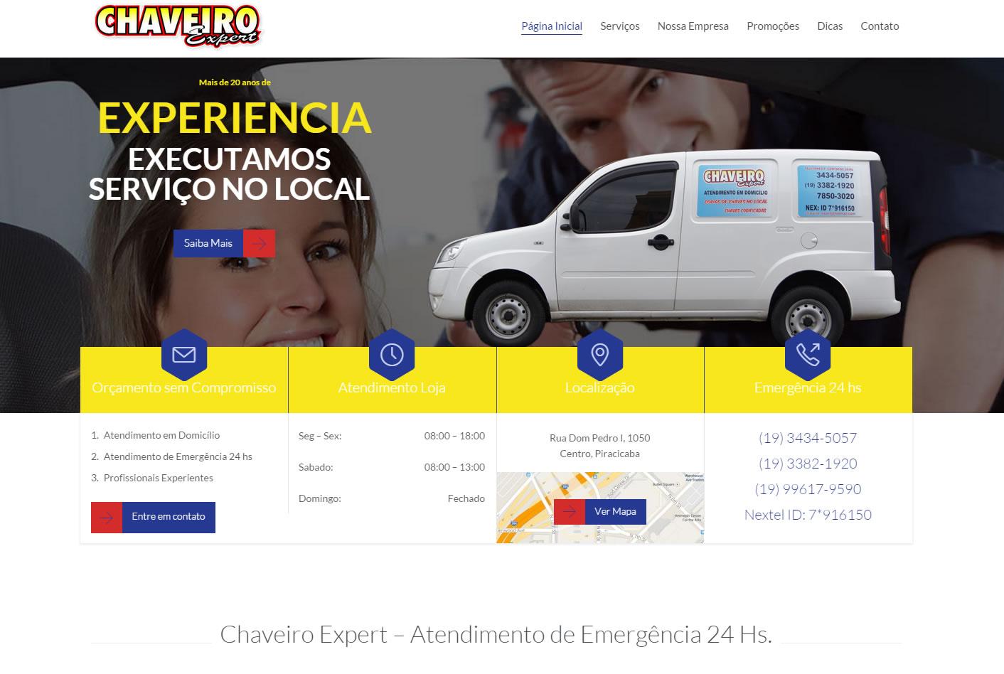 Cliente de Desenvolvimento de Sites em Piracicaba - Chaveiro Expert